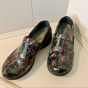 Dansko | Works Wonders Black Floral Clogs Size 10